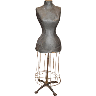 19th c Papier Mache  Dress Form with Wire & Iron Base