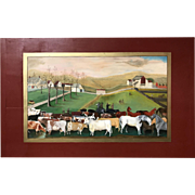 Primitive Oil Painting on a Fireboard, The Cornell Farm, After Edward Hicks