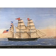 19th c Italian School Watercolor Ship Painting of Bark Hornet at Palermo