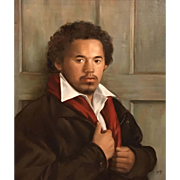 Mary Phillips Oil Painting Portrait of Mario Before The Christian Door