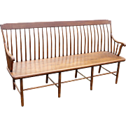 19th c Step Back Windsor Bench with Bamboo-Turned Legs