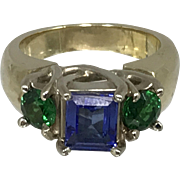 14K Gold Tanzanite & Tsavorite Ladies Ring