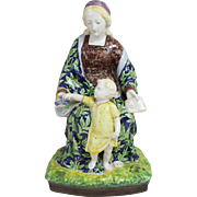 Angelo Minghetti Signed Majolica Faience Figure of Mother and Child circa 1855-1865