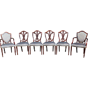 Set of Six Custom Mahogany Shield Back Sheraton Style Dining Chairs