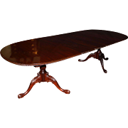 Double Pedestal Mahogany, Nicely Carved Dining Table with Three Leaves