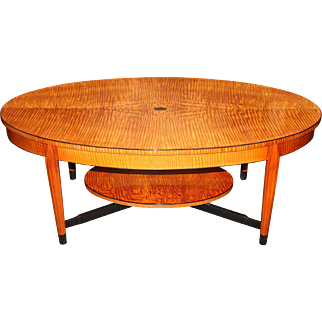 Terry Moore NH Furniture Master Artisan Made Oval Tiger Maple Coffee Table