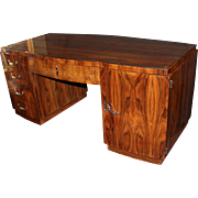 French Art Deco Glass Top Rosewood Desk with Chrome Hardware