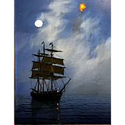 William R. Davis Luminist Marine Oil Painting, The Red Flare