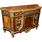 Louis XVI Style Ormolu Mounted Fruitwood Chest with Marble Top