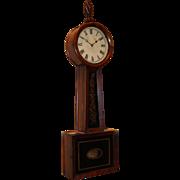 Horace Tifft Attleboro MA Mahogany Banjo Wall Clock with Églomisé circa 1840