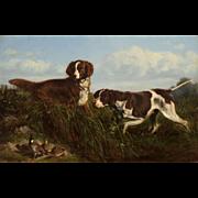 Arthur Fitzwilliam Tait Oil Painting, Setters and Quail 1871