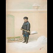 Robert M. Pratt Mixed Media Painting of a Boy and Sled, Winter Chores 1875