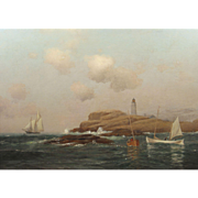 Warren Sheppard Marine Oil Painting, Boon Lighthouse, Isles of Shoals, New Hampshire