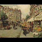 Luther Emerson Van Gorder Oil Painting Cityscape, A Boulevard, Paris, 1900