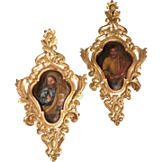 Pair of Continental Baroque Style Painted Giltwood Panels Depicting Saints