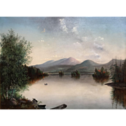 Hudson River School Landscape Painting, Lake George, NY, 1873