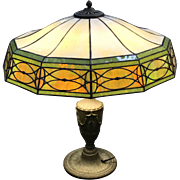 Early 20th c Bradley & Hubbard 12 Panel Slag Glass Table Lamp