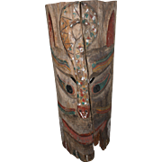 19th c Northwest Coast Native American Carved Totem Panel