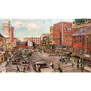 Harry Irving Shumway Oil Painting Cityscape of Scollay Square, Boston, 1927