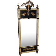 19th c Continental Gilt Pier Mirror with Flower Basket Crest & Faux Marbleized  Pilasters