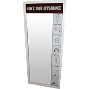 """Mid Century Airline Flight Attendant's Mirror """"How's Your Appearance"""""""