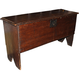 Early 18th c Six Board Oak Chest with Chipped Carving & Boot Jack Feet