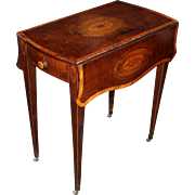 George III Pembroke Table with Inlaid Sycamore Floral Medallions on Mahogany