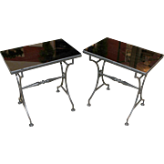 Pair of Regency Style Glass Top Side Tables in Black Iron