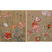 Dexter B. Dawes Pair of Gouache Paintings of Poppies 1942-43