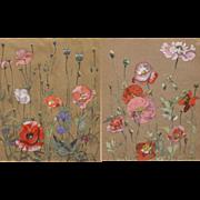 Dexter B. Dawes Pair of Gouache Paintings of Poppies 1942-43