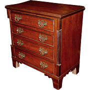 Diminutive or Miniature Victorian Mahogany Four Drawer Chest in the Chippendale Style