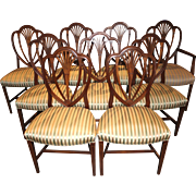 Set of 9 English Mahogany Shield Back Upholstered Dining Chairs with Inlay