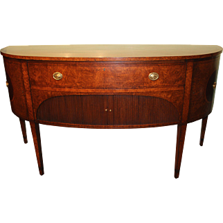 Demilune Mahogany Sideboard or Server with Burled Walnut and Tambour Doors