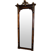 Victorian Walnut Full Length Pier Mirror with Gilt Carved Decoration