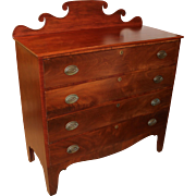 Hepplewhite Mahogany Four Drawer Chest with Nice Tall Feet and Shaped Crest