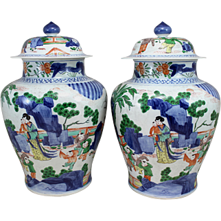 Pair of 19th Century Chinese Qing Dynasty Polychrome Covered Porcelain Jars