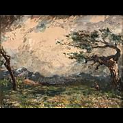 Albert Lorey Groll, Carson City Nevada Landscape Oil Painting, The Storm Cloud