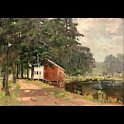 Charles Edwin Lewis Green Landscape Oil Painting - Silver Lake, Tilton, NH