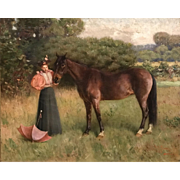 Henry Rankin Poore Oil Painting of a Lady with Horse, titled Orange