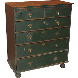 William & Mary Style Two Over Four Chest in Green Paint