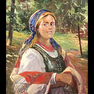 Leonard Winterowski Oil Painting Portrait of a Lady, Warsaw 1920
