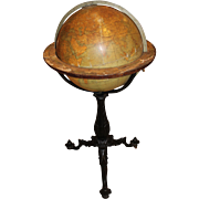 English 18 Inch Terrestrial Globe on Cast Iron Stand, W & A.K. Johnston, circa 19th Century
