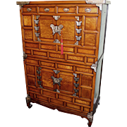 Early 20th c Korean Tansu Two Part Cabinet with Butterfly Hardware