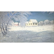 Lowell Birge Harrison Winter Landscape Oil Painting, Snow Bound, Woodstock NY