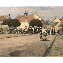 Ernest Lee Major Townscape Oil Painting, Etaples, France 1888