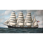 Antonio Jacobsen Marine Oil Painting, Four Masted Barque Roanoke Under Full Sail, 1914