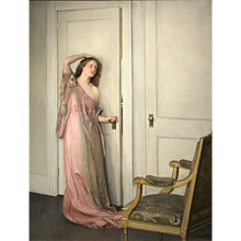 William McGregor Paxton Exceptional Oil Painting of a Woman, The Other Door, 1917