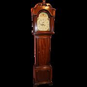 18th c W. Johnson, Evesham English Mahogany Tall Case Clock
