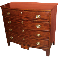 Federal Hepplewhite Mahogany Bow Front Four Drawer Chest circa 1790-1810