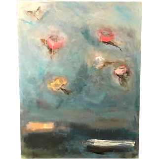 Jan Lhormer Modernist Abstract Oil Painting, Rose Clouds